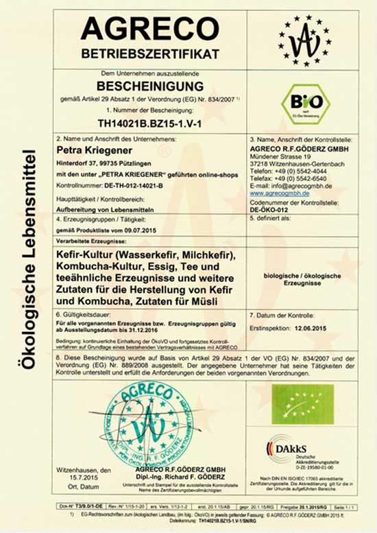Hier finden Sie eine Übersicht über alle unsere zertifizierten und regelmäßig kontrollierten Bio Kulturen: Bio Kefir, Bio Wasserkefir, Bio Kombucha und Bio Ginger Root Drink.