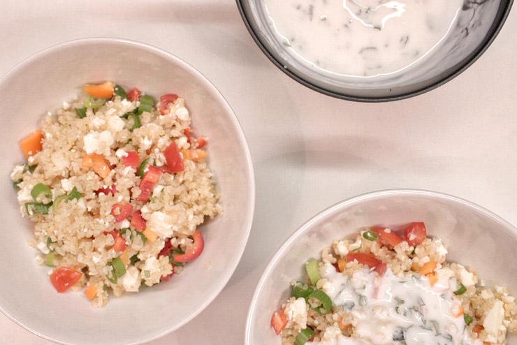 Kefir Bulgur Salat - Orient trifft auf Kefir und Minze - Die Verarbeitung