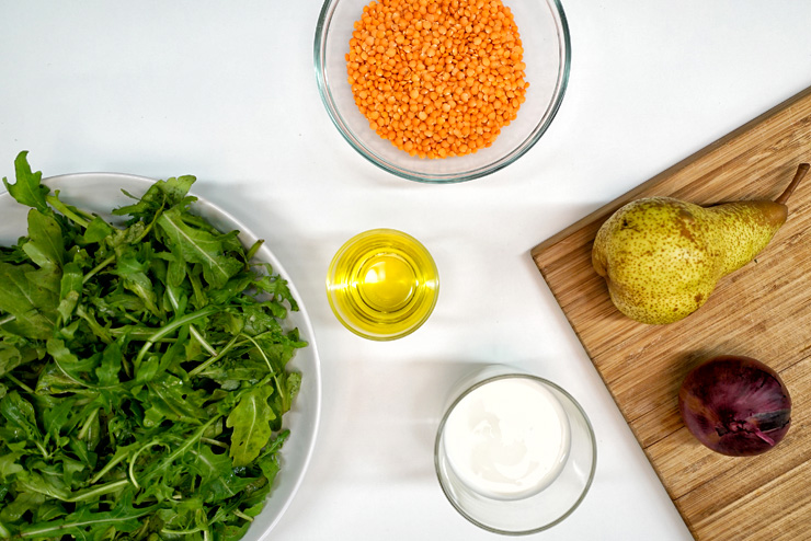 Rocket salad with kefir and lentils - a great salad for BBQ - the ingredients