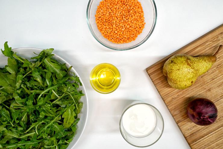Rucola Salat mit Kefir und Linsen - ein toller Salat zum Grillen - die Zutaten