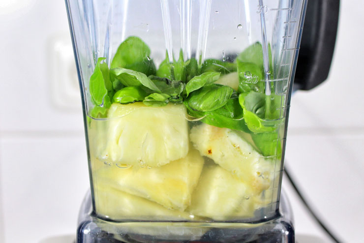 """Pineapple Kiss"" Kefir Smoothie - a fresh and fruity Water Kefir drink with Pineapple and Basil - mixer"