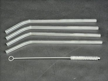 4 drinking straws made of glass as a set with a brush - reusable straws
