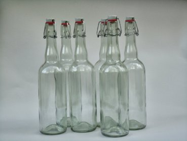 6 High quality glass bottles with swing top - 750ml for water kefir and kombucha