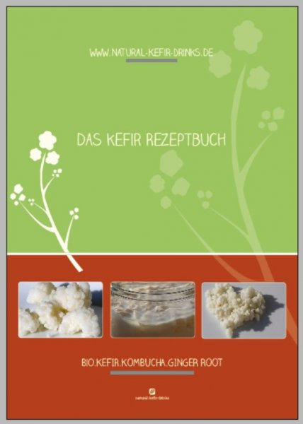 Would you like to make delicious kefir recipes at home? Here you can the Natural-Kefir-Drinks.de milk kefir recipes e-book with the best 5 recipes